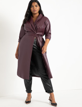 ELOQUII Shawl Collar Vegan Leather Dress