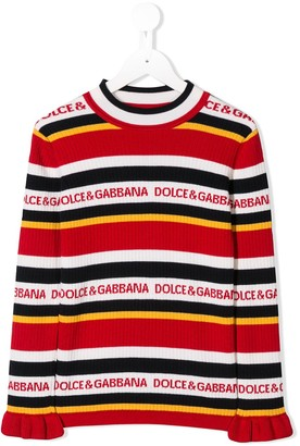 Dolce & Gabbana Kids Striped Logo Jumper
