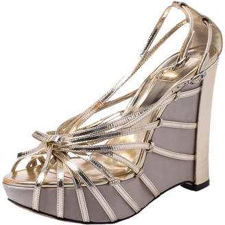 Christian Dior Gold Patent Leather Strappy Platform Wedge Sandals Size 38