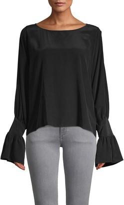 L'Agence Gianne Open Bell Sleeve Silk Blouse