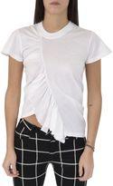 Marques Almeida White Asymmetric Ruffled T-shirt