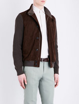 Corneliani Contrast-panel suede and cotton-knitted jacket