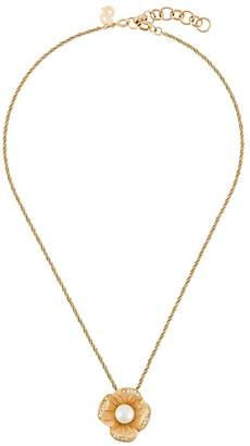 Christian Dior Pre-Owned 1980's flower pendant necklace