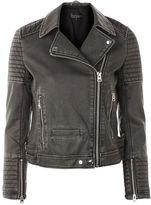 Topshop Washed Faux Leather Biker Jacket