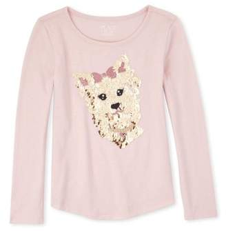 Children's Place The Girls 4-16 Puppy Graphic Long Sleeve Curve Hem Long Sleeve T-Shirt