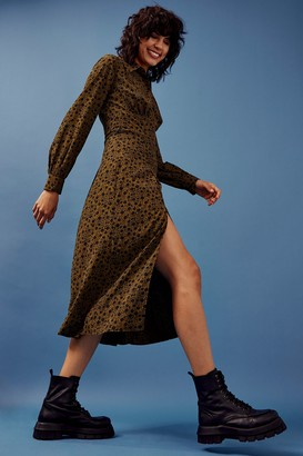 Topshop Khaki Print Split Front Shirt Dress