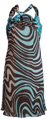 Valentino Multicolor Printed Silk Halter Dress M
