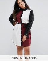 AX Paris Plus Shirt Dress In Color Block