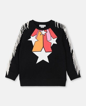 Stella Mccartney Kids Stella McCartney stars & fringes cotton sweatshirt