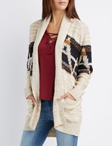 Charlotte Russe Marled Shawl Collar Patterned Cardigan