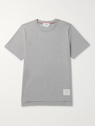 Thom Browne Grosgrain-Trimmed Melange Cotton-Jersey T-Shirt