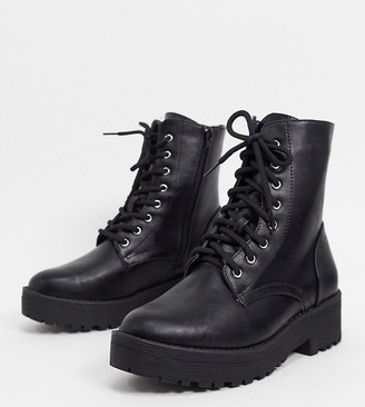 Truffle Collection wide fit chunky lace up boots in black