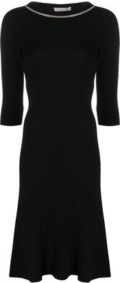 D-Exterior Embellished Neck Ribbed Midi Dress