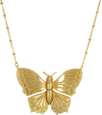 1928 Gold Tone Etched Butterfly Pendant Statement Necklace