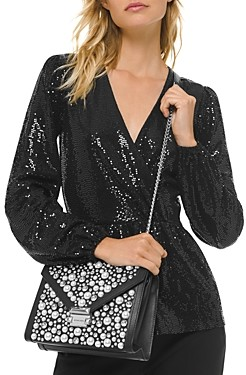 MICHAEL Michael Kors Metallic Dot-Embellished Crossover Top