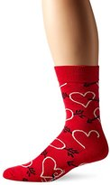Happy Socks Men's 1pk Unisex Combed Cotton Crew-Red Hearts and Arrows