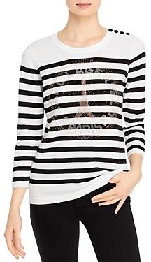 Karl Lagerfeld Paris Striped Logo Sweater