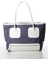Hogan Blue Cotton White Leather Oversized Tote Handbag