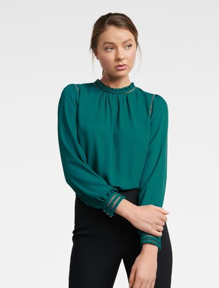 Forever New Talia Trim Splice Formal Blouse - Teal Embrace - 4