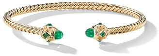 David Yurman 18kt yellow gold Renaissance emerald cuff