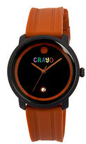 Crayo Unisex Fresh Brown Rubber-Strap Watch With Date Cracr0305