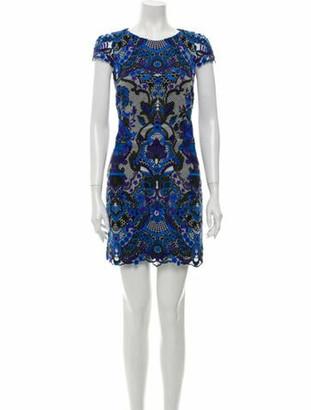 Alice + Olivia Printed Mini Dress Blue