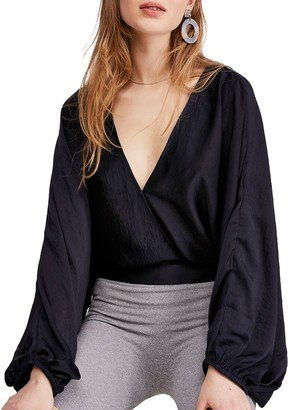 Free People Midnight Vibes Puff-Sleeve V-Neck Blouse