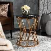 Safavieh Delsy Glass Top End Table in Gold