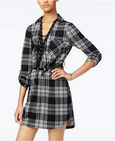 Ultra Flirt Juniors' Plaid Lace-Up Shirtdress with Belt
