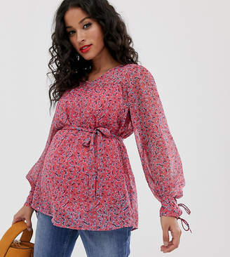 Mama Licious Mama.Licious Mamalicious maternity floral chiffon top-Red