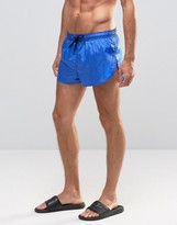 Asos Super Short Length Swim Shorts In Wet Look With Side Split