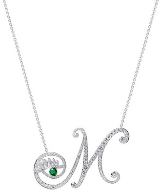 Tabayer Eye 18K White Gold, Emerald & Diamond Memorable Pendant Necklace