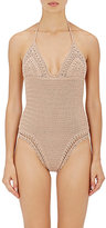 She Made Me Women's Malikah Crochet One-Piece Halter Swimsuit-PINK
