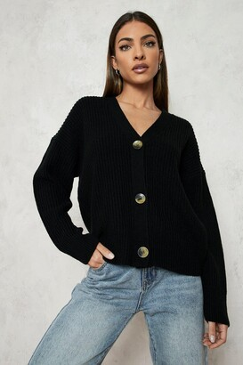 boohoo Fisherman V Neck Cardigan