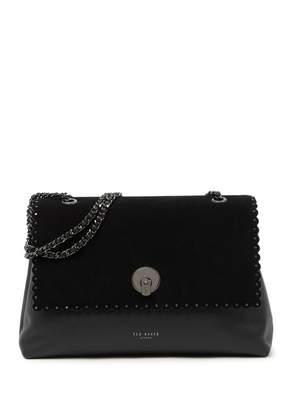Ted Baker Soraya Studded Leather & Suede Circle Lock Shoulder Bag