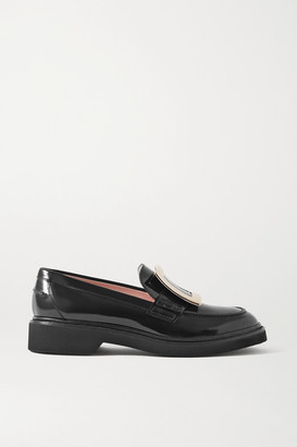 Roger Vivier Viv Ranger Embellished Patent-leather Loafers - Black