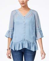 Style&Co. Style & Co Asymmetrical Flounce Blouse, Created for Macy's