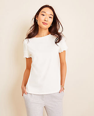 Ann Taylor Scalloped Refined Tee
