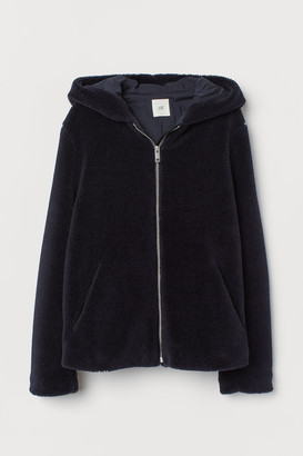 H&M Hooded Faux Shearling Jacket - Blue