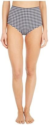 J.Crew High-Waisted Bikini Bottoms in Matte Gingham (Prospect Gingham Black/Ivory) Women's Swimwear