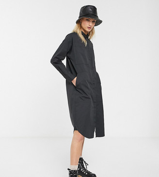 Monki oversized shirt dress with utility pockets in gray