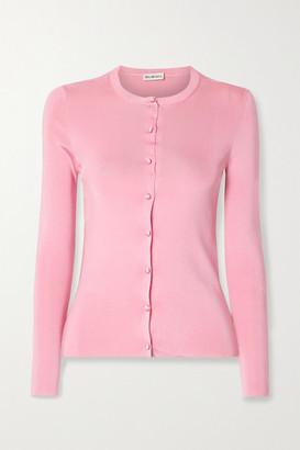 Balenciaga Intarsia Ribbed-knit Cardigan - Pink