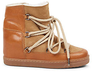 Isabel Marant Women's Nowles Shearling-Lined Suede & Leather Boots