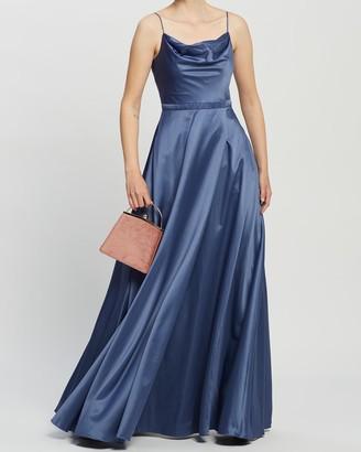 Bariano Diamond Cowl Wrap Gown