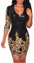SEBOWEL Women's 3/4 Sleeve Sequins Slim Bodycon Dress-(,S)