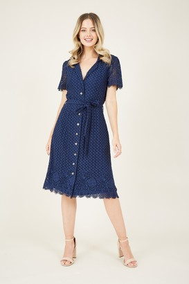 Yumi Navy Lace Tie Shirt Dress