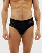 Asos Design ASOS DESIGN brief with black lace panels