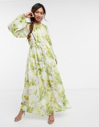 ELVI smock midi dress in floral