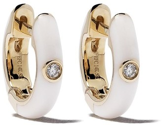 Ef Collection 14kt Yellow Gold Enamel Diamond Huggie Earrings