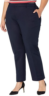 Lauren Ralph Lauren Plus Size Lakythia Stretch Cotton Blend Pants (Lauren Navy) Women's Clothing
